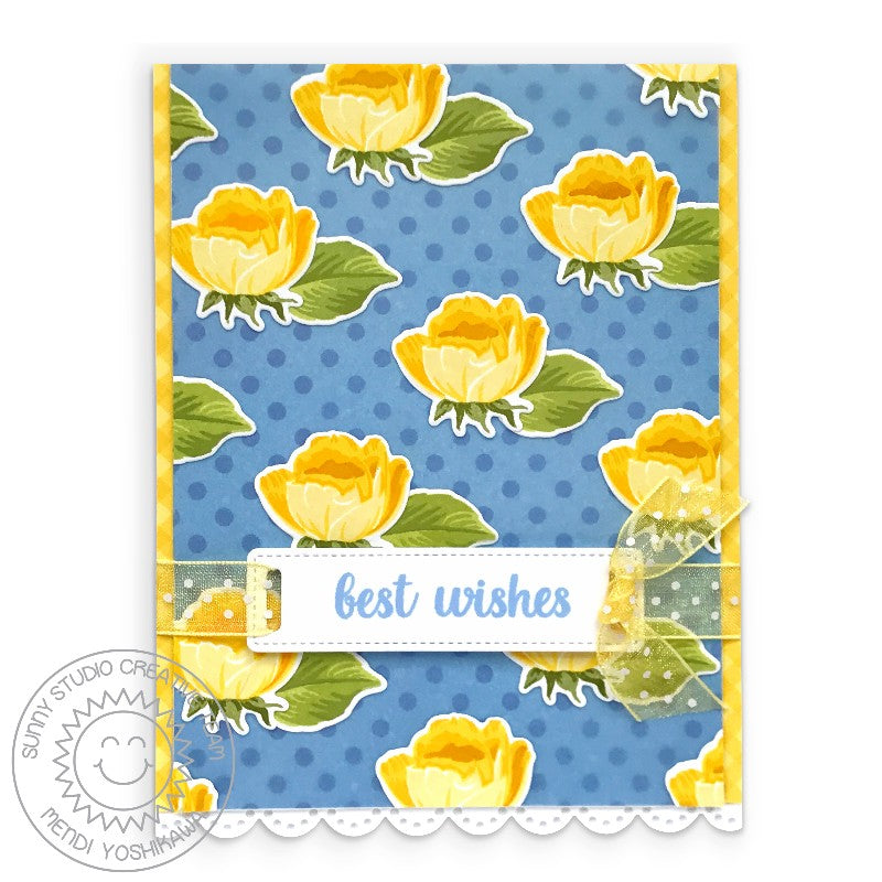 Sunny Studio Best Wishes Rosebud Blue & Yellow Polka-dot Handmade Wedding Card (using Potted Rose 4x6 Clear Photopolymer Stamp Set)