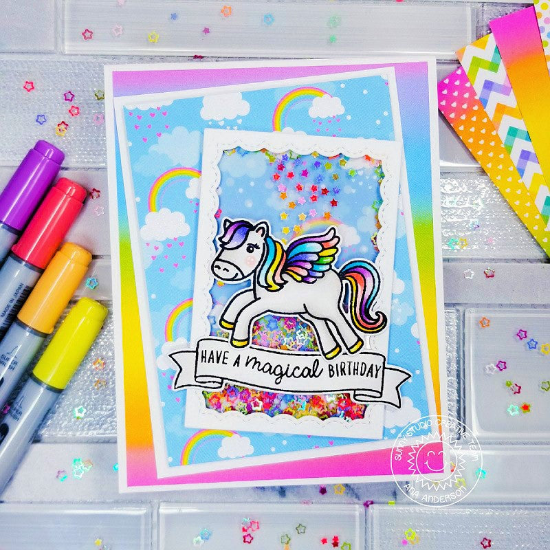 Sunny Studio Stamps Have A Magical Birthday Girls Rainbow Pegasus Shaker Handmade Card (using Banner Basics 4x6 Photopolymer Clear Stamps)