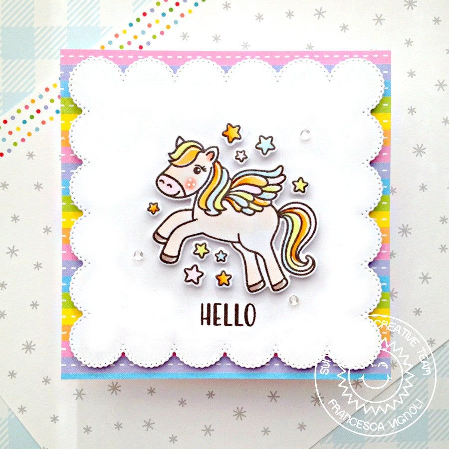 Sunny Studio Stamps Rainbow Striped Square Pegasus Handmade Hello Card (using scalloped Frilly Frames Eyelet Lace Background Backdrop Mat Metal Cutting Dies)