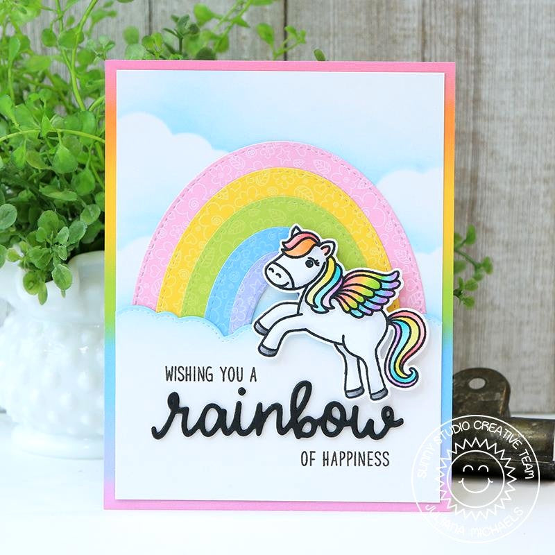 Sunny Studio Stamps Rainbow of Happiness Pegasus Card with Stitched Clouds (using Fluffy Cloud Border Dies)
