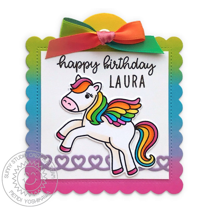 Sunny Studio Stamps Prancing Pegasus Girls Rainbow Personalized Birthday Gift Tag (using Stitched Scalloped Square Tag Dies)