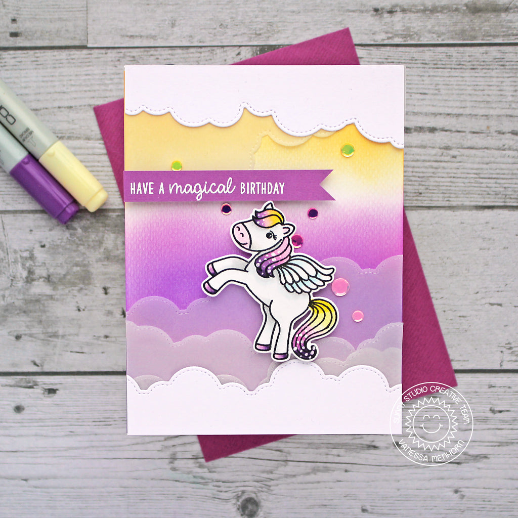 Sunny Studio Stamps Have A Magical Birthday Purple & Yellow Ombre Pegasus Handmade Card (using Stitched Fluffy Cloud Border Dies)
