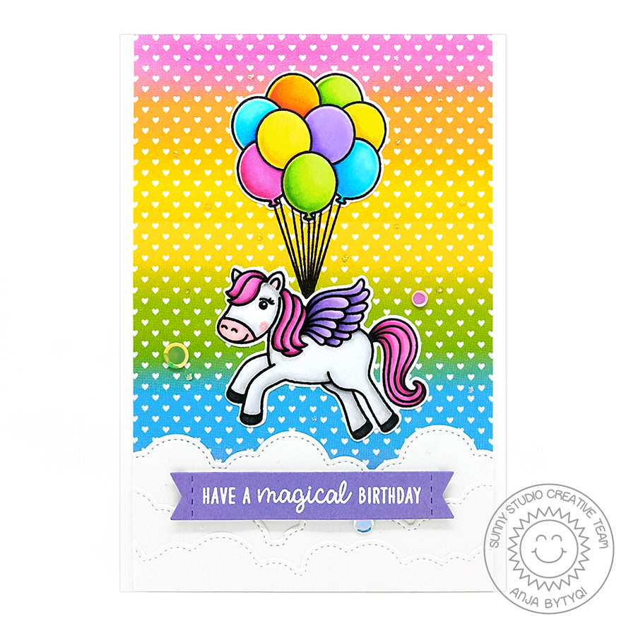 Sunny Studio Spring Pegasus Floating with Balloons Rainbow Ombre Heart Print Handmade Card (using Spring Fling 6x6 Patterned Paper Pack)