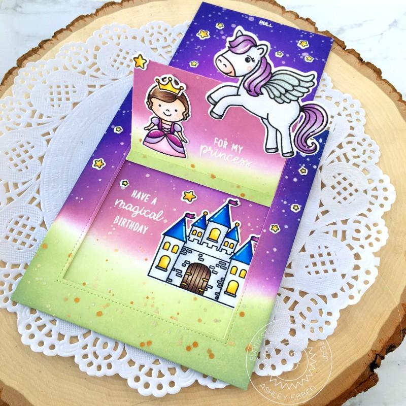 Sunny Studio Stamps Enchanted Fairytale Princess, Castle & Pegasus Girl Sliding Window Interactive Pop-up Card by Ashley Ebben