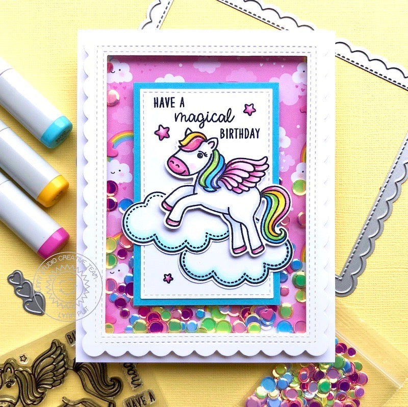 Sunny Studio Pink Rainbow Pegasus Handmade Shaker Card (using Spring Fling 6x6 Patterned Paper Pack)