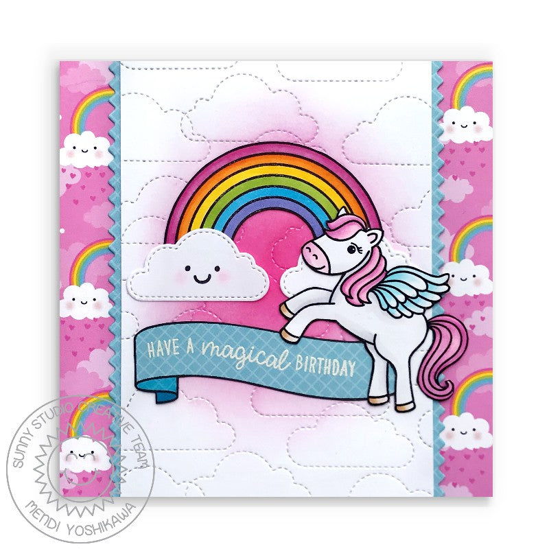 Sunny Studio Stamps Prancing Pegasus Have A Magical Birthday Happy Clouds and Rainbows Girls Handmade Card (using Spring Fling 6x6 Patterned Paper)