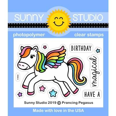Sunny Studio Stamps Prancing Pegasus Mystical Fairytale 2x3 Mini Clear Photopolymer Stamp Set