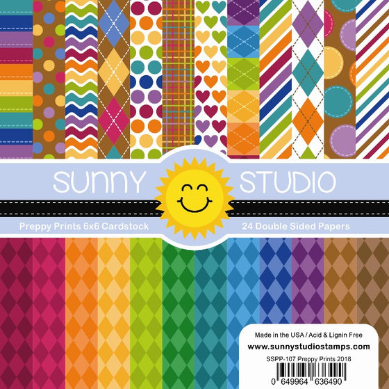 Sunny Studio Stamps Preppy Prints 6x6 Patterned Paper Pack