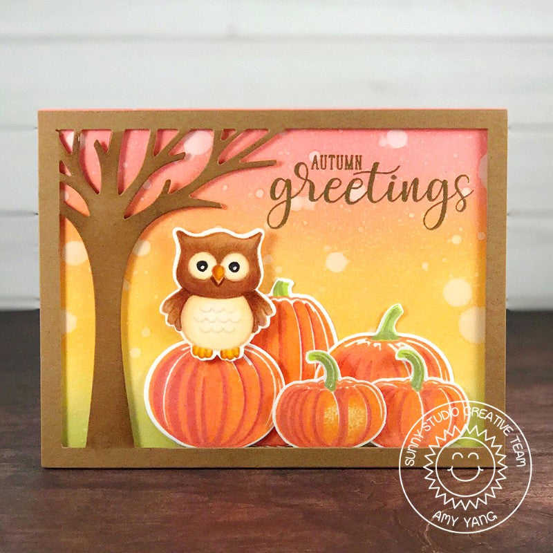 Sunny Studio Stamps Happy Owl-o-ween Owl in Pumpkin Patch Card