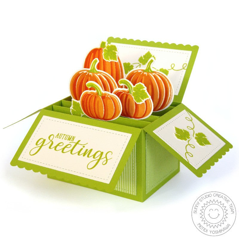 Sunny Studio Stamps Autumn Greetings Fall Pumpkin Pop-up Box Card