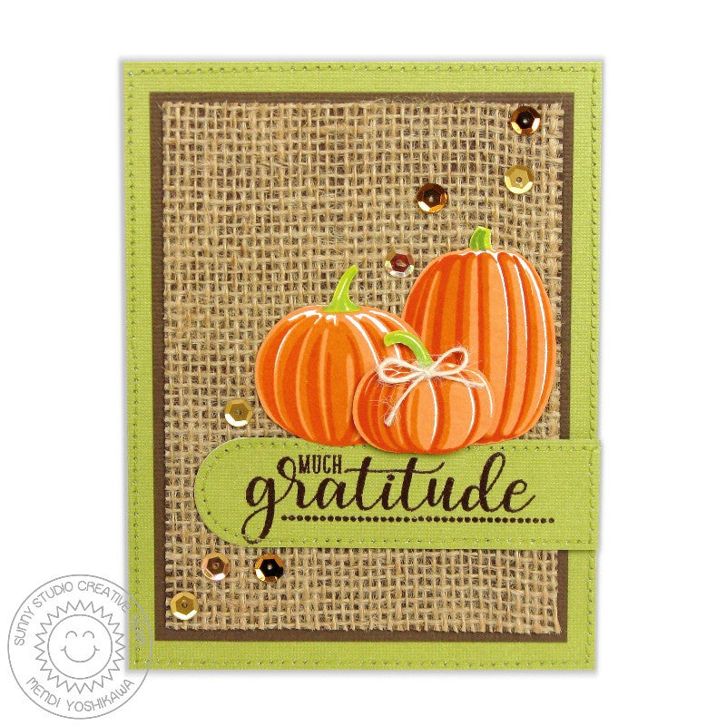 Sunny Studio Stamps: Pretty Pumpkins & Autumn Greetings Fall Pumpkins Burlap Thank You Card