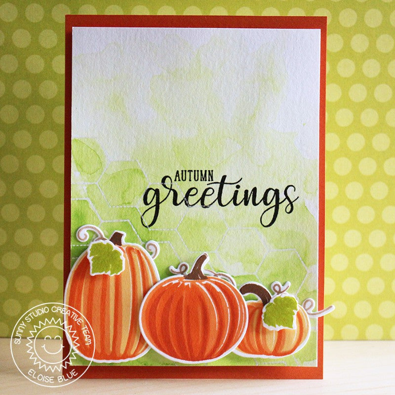 Sunny Studio Stamps Autumn Greetings Watercolor Pumpkin Card