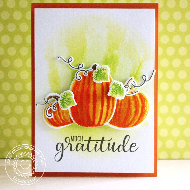 Sunny Studio Stamps Autumn Greetings Watercolor Pumpkin Card by Eloise Blue