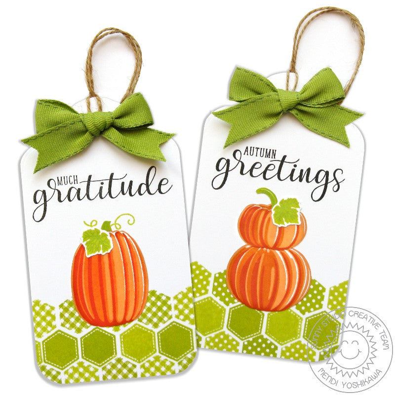 Sunny Studio Stamps Quilted Hexagons Fall Pumpkin Gift Tags
