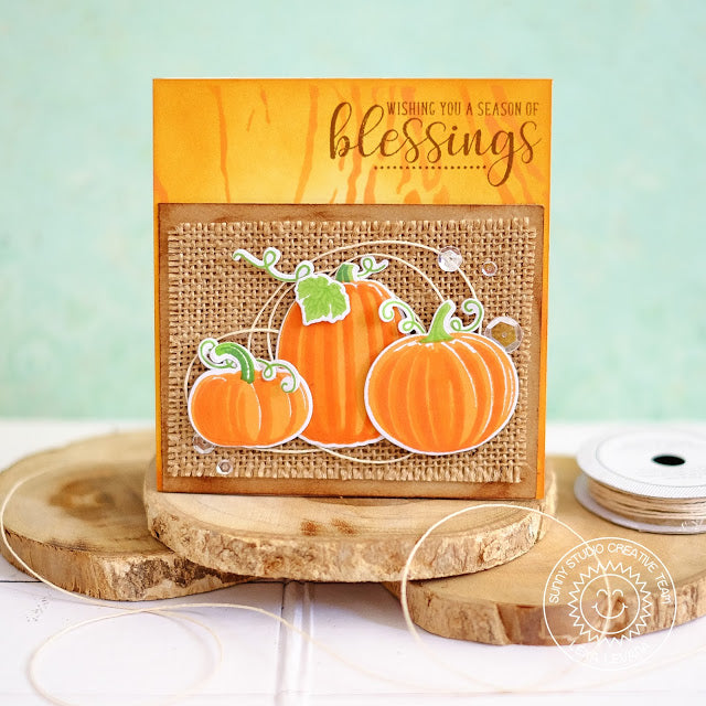 Sunny Studio Stamps Pretty Pumpkins Burlap Blessings Card
