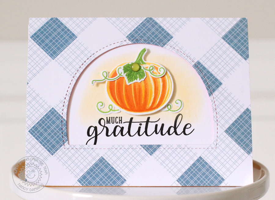 Sunny Studio Stamps Autumn Greetings Much Gratitude arched Window Card