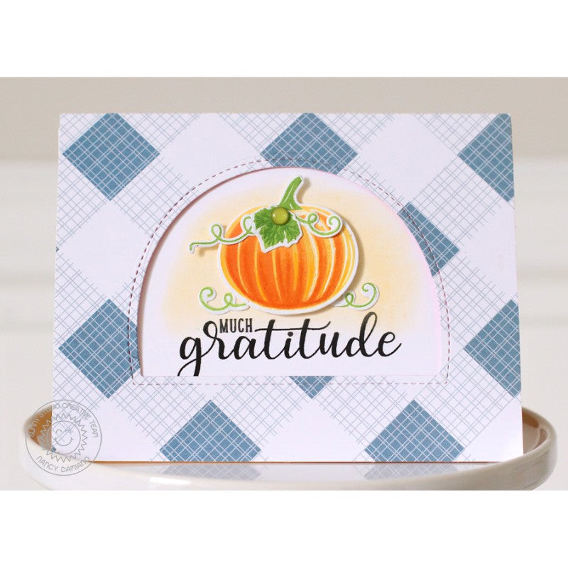 Sunny Studio Stamps Pretty Pumpkins Gratitude Arched Window Card