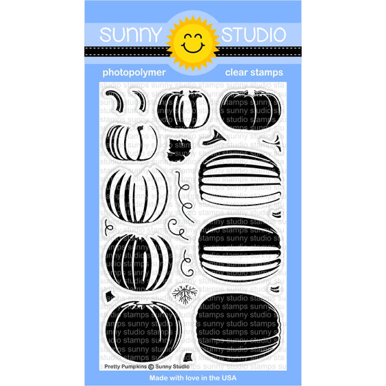 Sunny Studio Stamps Pretty Pumpkins 4x6 Layering Photopolymer Clear Stamp Set