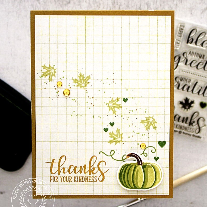 Sunny Studio Stamps: Pretty Pumpkins Green Pumpkin Thank You Card