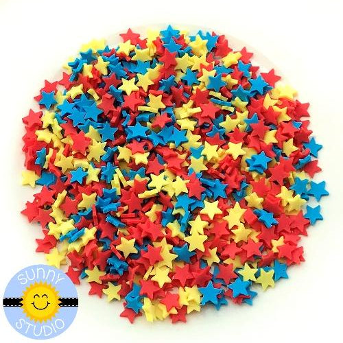 Sunny Studio Stamps 4mm Red, Yellow & Blue Clay Star Confetti Embellishments for Shaker Cards