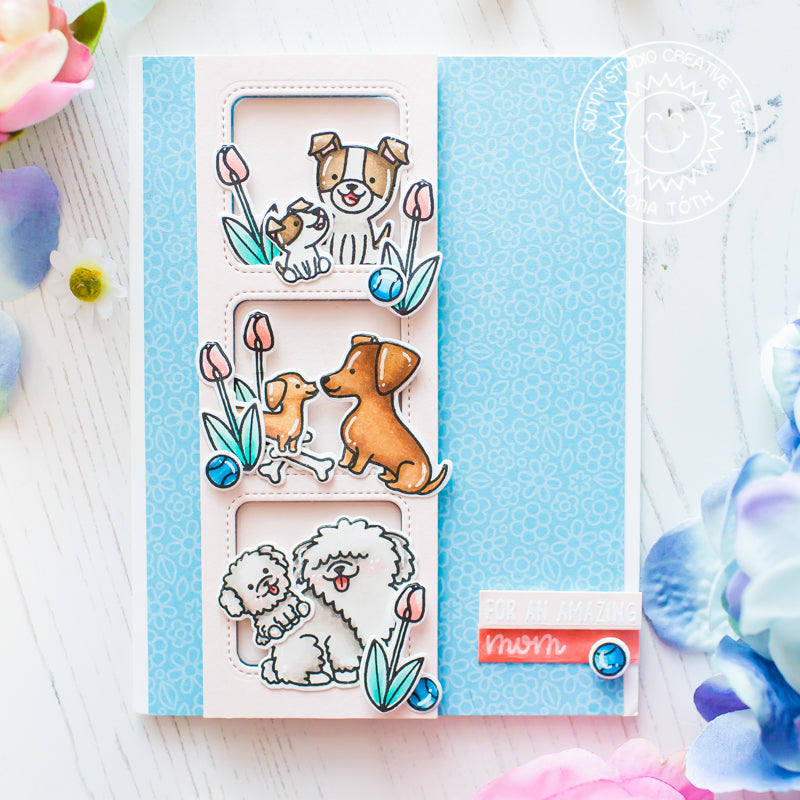Sunny Studio Stamps Puppy Parents Dogs & Tulips Card (using Window Trio Square Dies)
