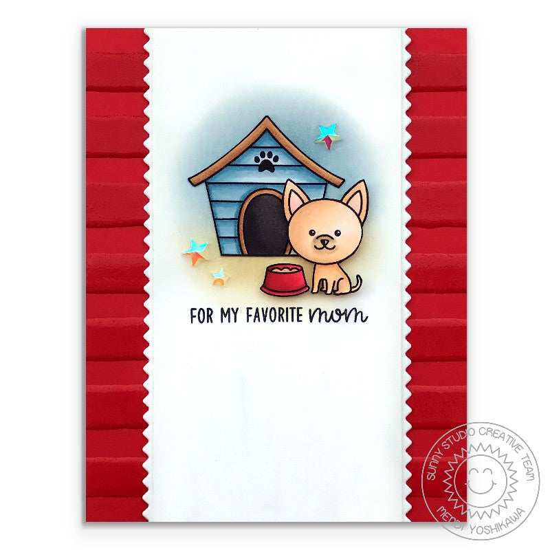 Sunny Studio Stamps Puppy Dog Kisses Chihuahua Red Striped Dog House Card by Mendi Yoshikawa