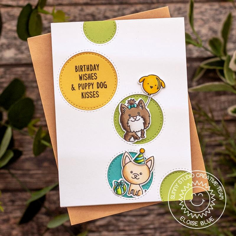 Sunny Studio Stamps Stitched Circle Puppy Dog Card (using Staggered Circles Die)
