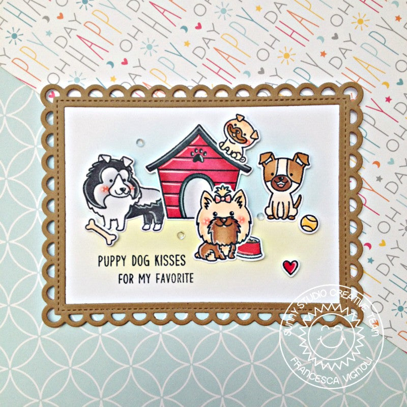 Sunny Studio Stamps Scalloped Puppy Dog Handmade Card (using Frilly Frames Lattice Dies)