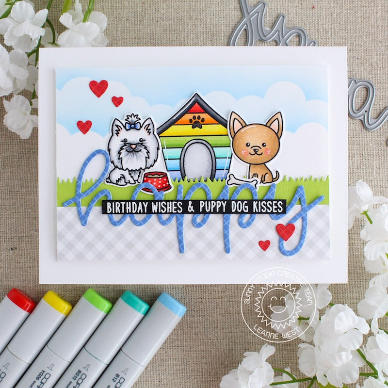 Sunny Studio Stamps Puppy Dog Kisses Birthday Card (using Happy Script Over-sized word die)