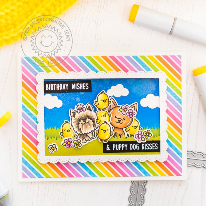 Sunny Studio Puppy Dog Kisses Card (using chicks from Chubby Bunny Stamps)