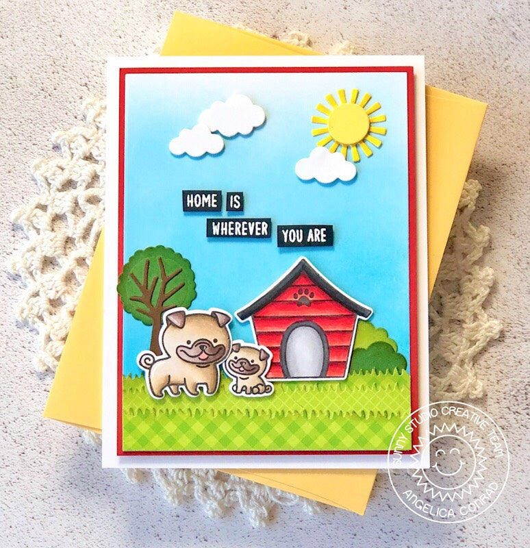 Sunny Studio Stamps Puppy Parents Home Is Wherever You Are Card by Angelica Conrad