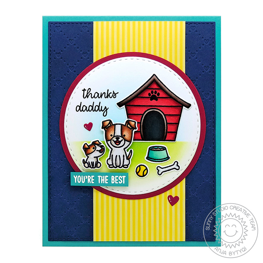 Sunny Studio Stamps Embossed Puppy Dog Father's Day Card (using Quilted Hearts 6x6 Embossing Folder)