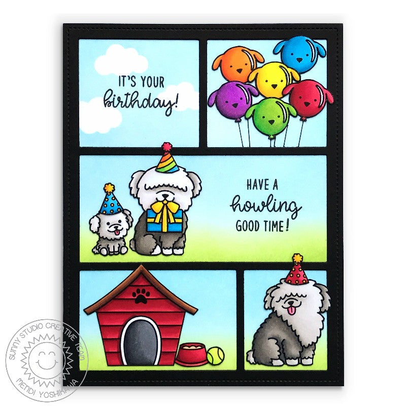 Sunny Studio Stamps Puppy Parents Comic Strip Style Dog Themed Birthday Card