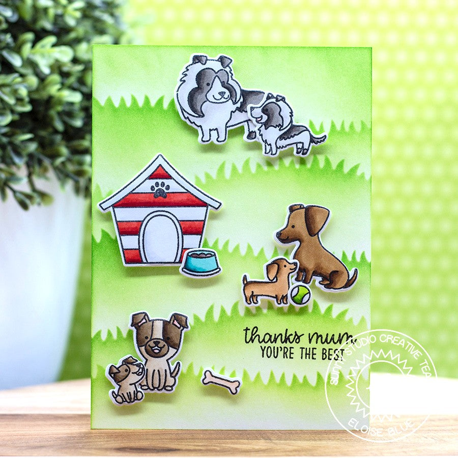 Sunny Studio Stamps Puppy Parents Dog Thank You Card by Eloise Blue