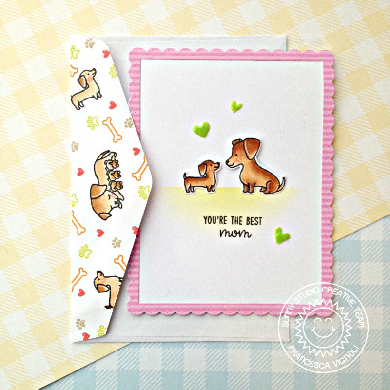 Sunny Studio Stamps Puppy Parents Dog Themed Card With Matching Envelope Flap