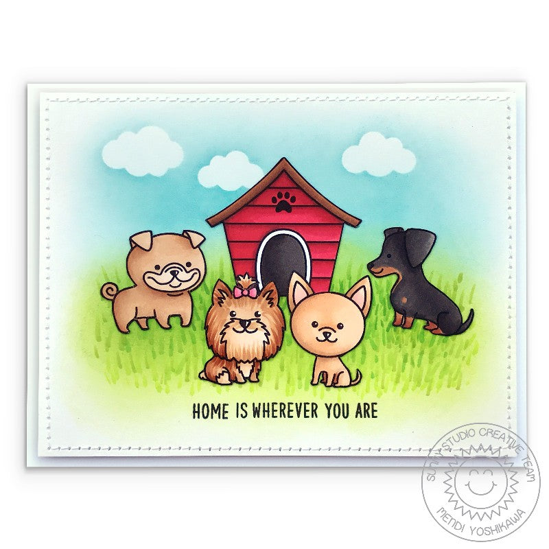 Sunny Studio Stamps Puppy Parents Home Is Where You Are Dog House Card by Mendi Yoshikawa