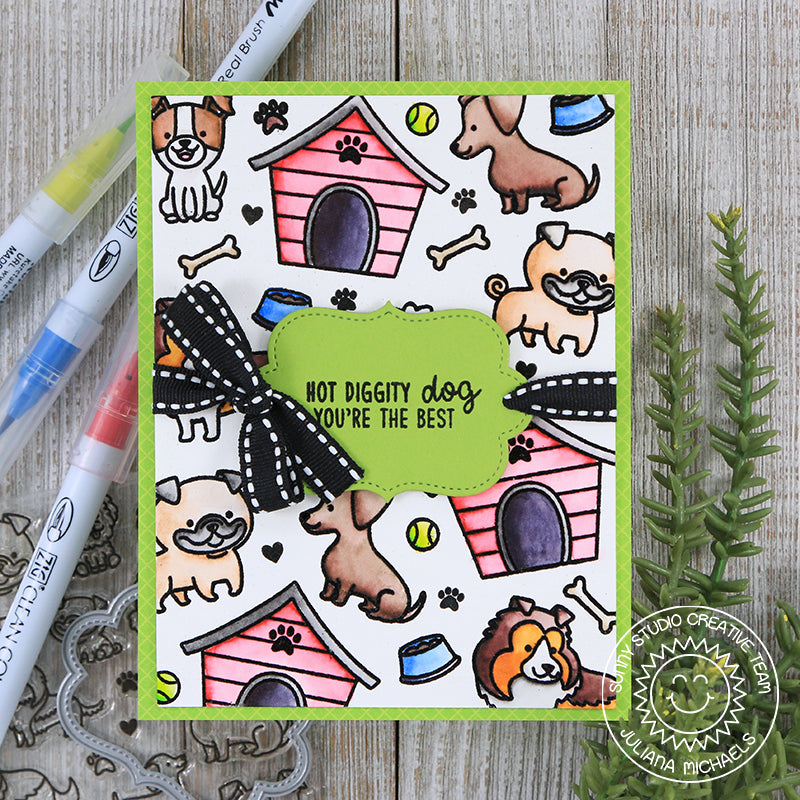 Sunny Studio Stamps Puppy Parent Watercolor Dog House Card By Juliana Michaels
