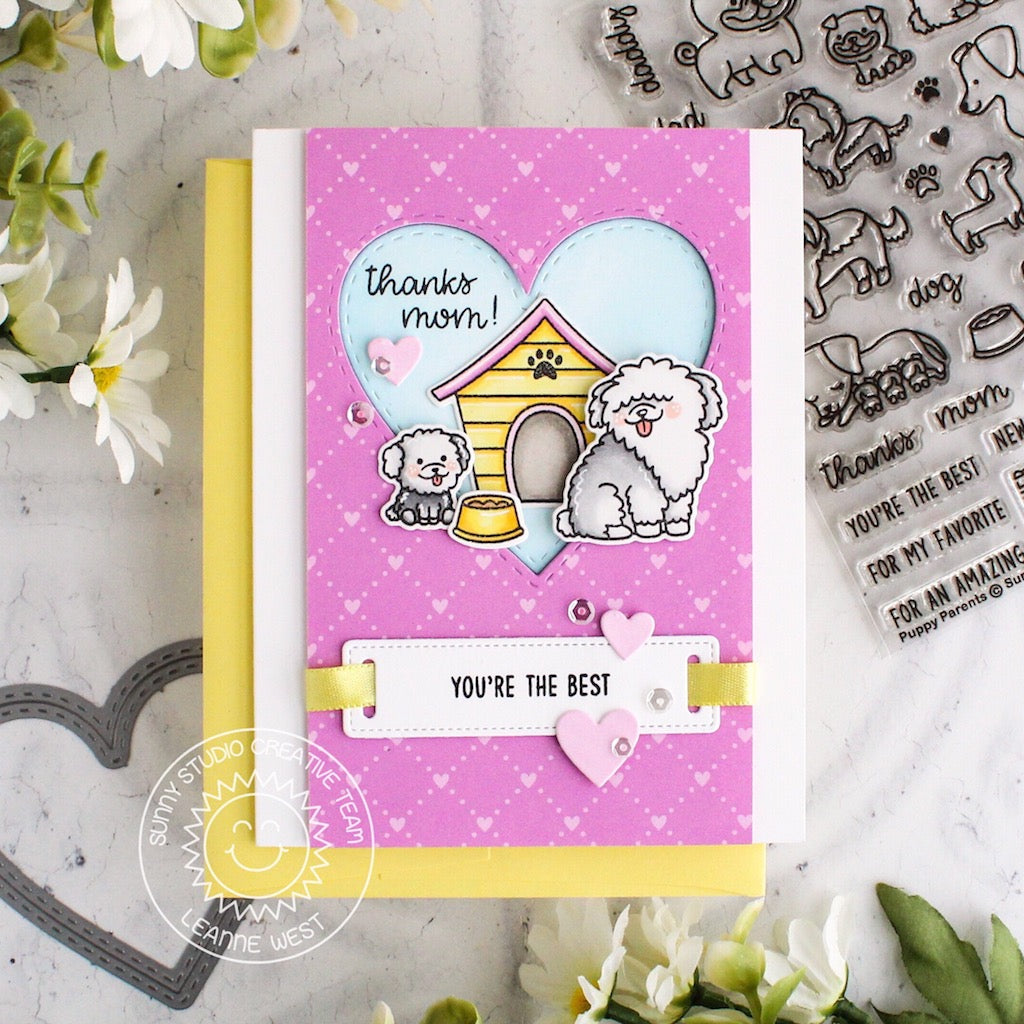 Sunny Studio Stamps Puppy Parents Pink & Yellow Dog Card with Heart Cutout Window