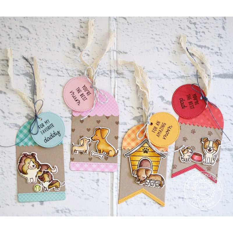 Sunny Studio Stamps Puppy Parents Dog Themed Kraft Gift Tags
