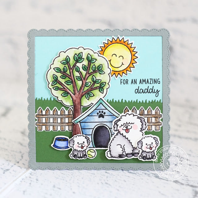 Sunny Studio Stamps Puppy Parents Dog with Doghouse Scene Card by Lexa Levana
