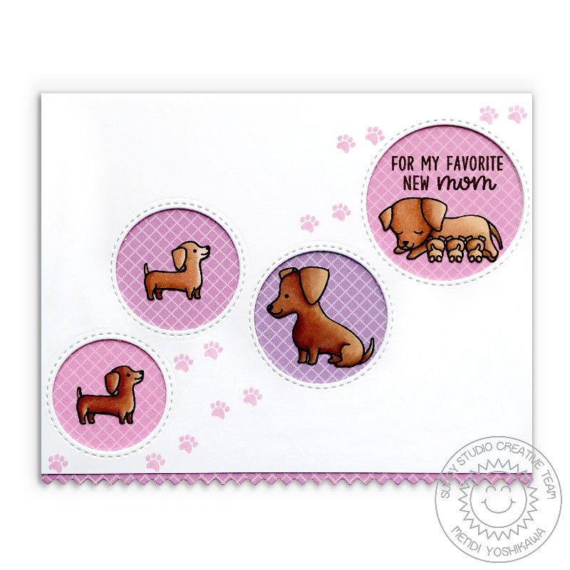 Sunny Studio Stamps Lavender & Pink Floating Circle New Mom Card (using Gingham Pastels 6x6 Patterned Paper Pack)