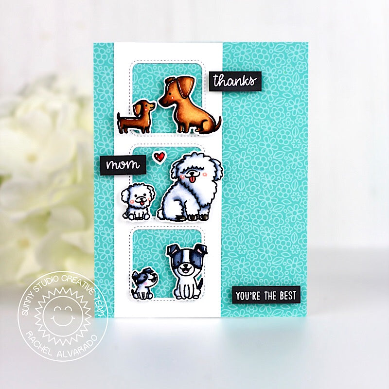 Sunny Studio Stamps Puppy Parents Handmade Dog Card by Rachel (using Window Trio Square Dies)