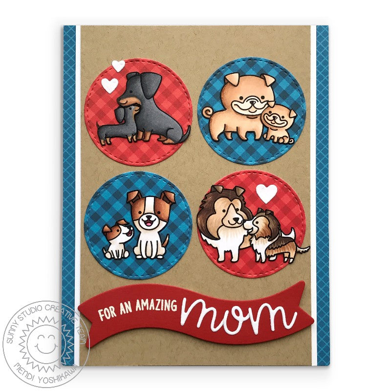 Sunny Studio Stamps Mother's Day dog themed Card (using Staggered Circle Dies)