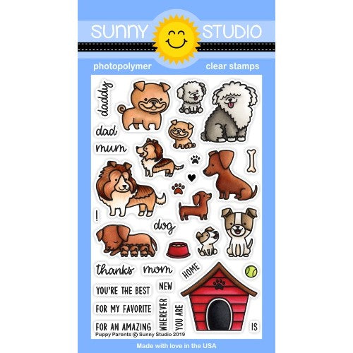 Sunny Studio Stamps Puppy Parents 4x6 Photopolymer Dog Themed Mothers Day Fathers Stamp Set
