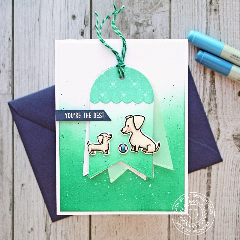 Sunny Studio Stamps Puppy Parents You're The Best Dog Card (featuring Build-a-Tag dies)