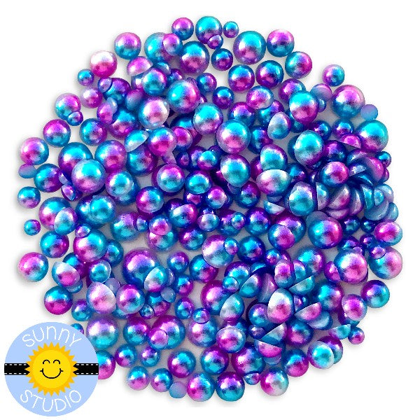 Sunny Studio Stamps Purple & Blue Ombre 2-Tone Loose Flat Back Half Pearls Embellishments- 3mm, 4mm, 5mm & 6mm
