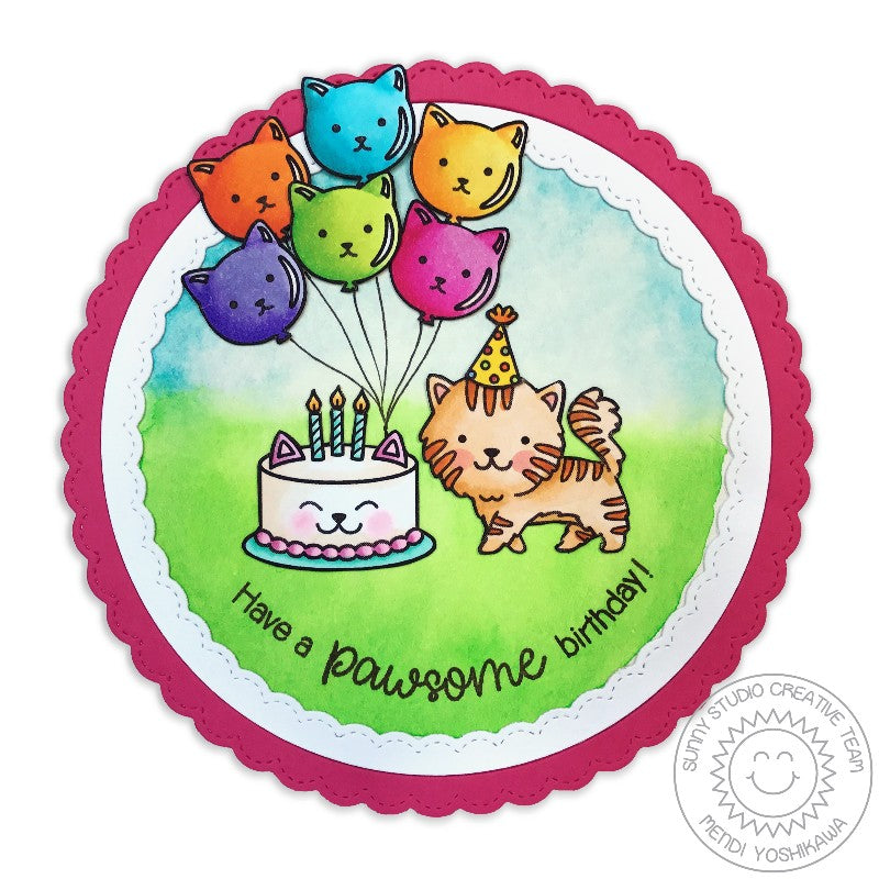Sunny Studio Stamps Purrfect Birthday Pawsome Cat Balloon Card by Mendi Yoshikawa