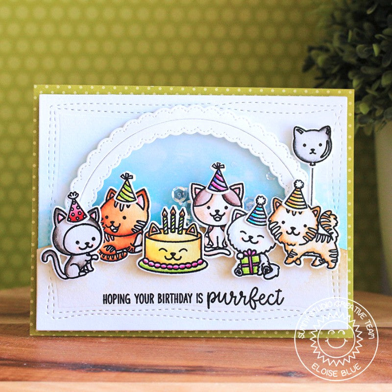 Sunny Studio Stamps Purrfect Birthday Cat Card using Fancy Frames Circle Dies