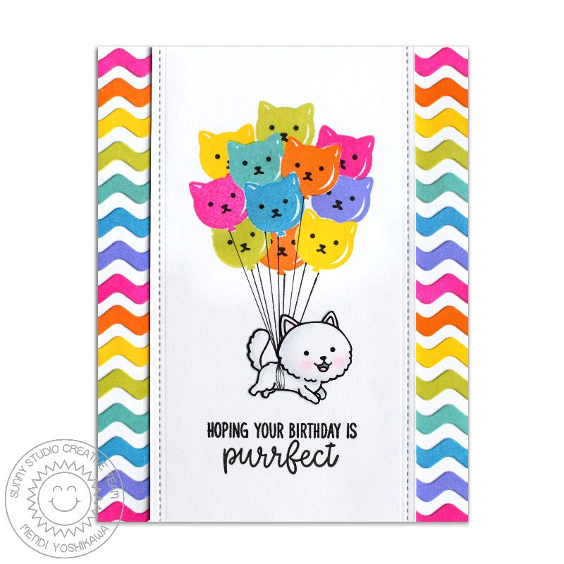 Sunny Studio Stamps Purrfect Birthday Floating Cat with Balloon Bouquet Card by Mendi Yoshikawa