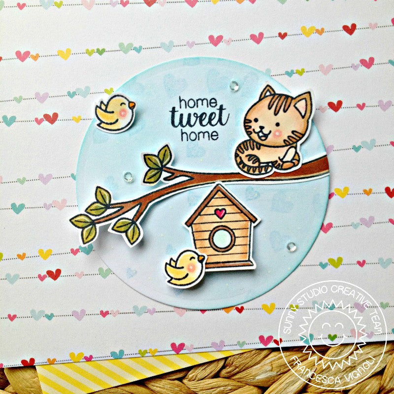 Sunny Studio Stamps Purrfect Birthday Cat in the Tree with Birdhouse Card by Franci